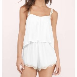 Tobi Wishful Alibi Tiered Romper in Ivory